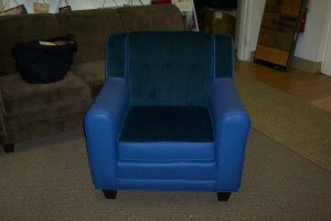 Finished blue leather chair
