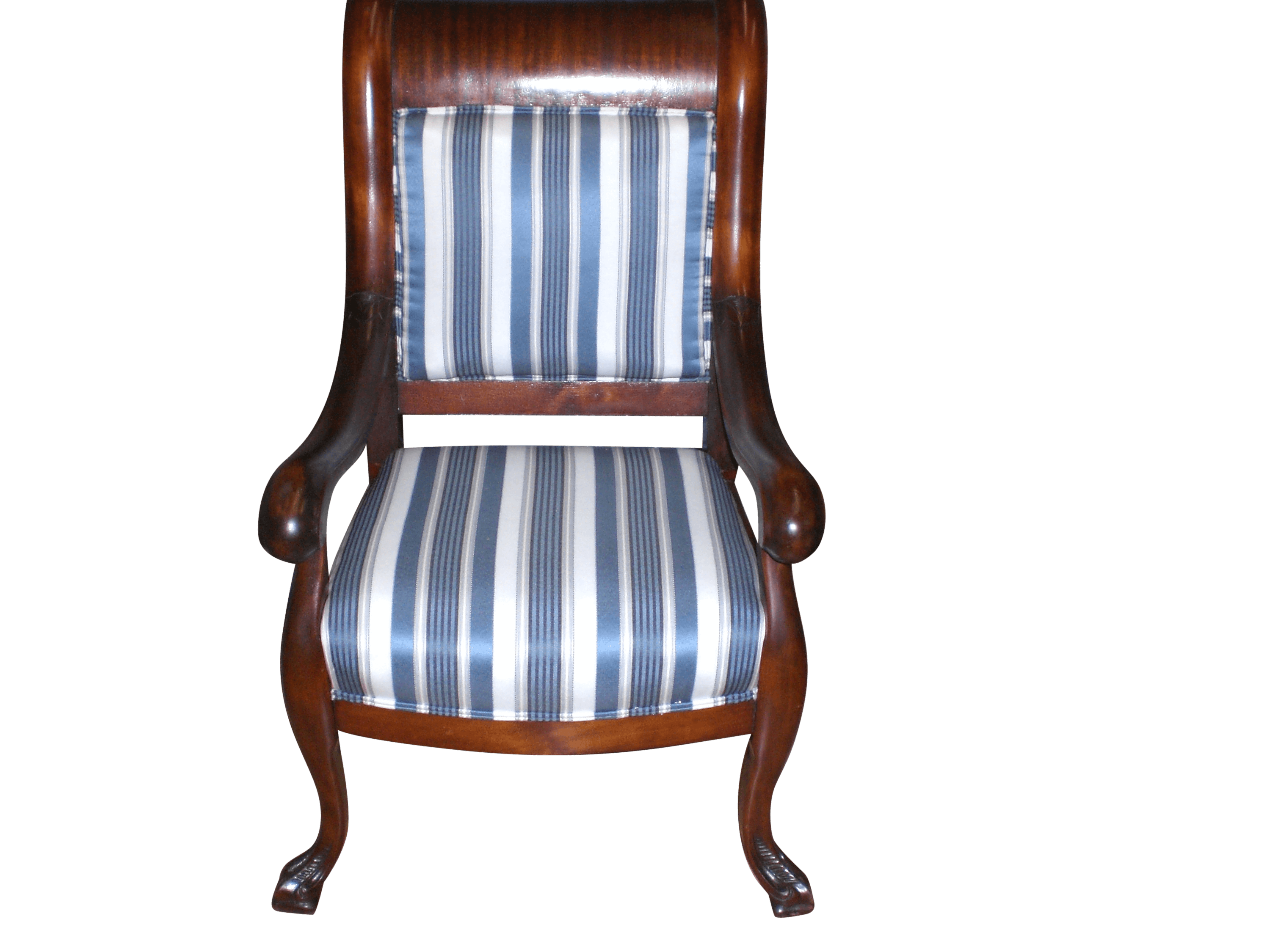 Re-upolstery of a wood framed arm chair