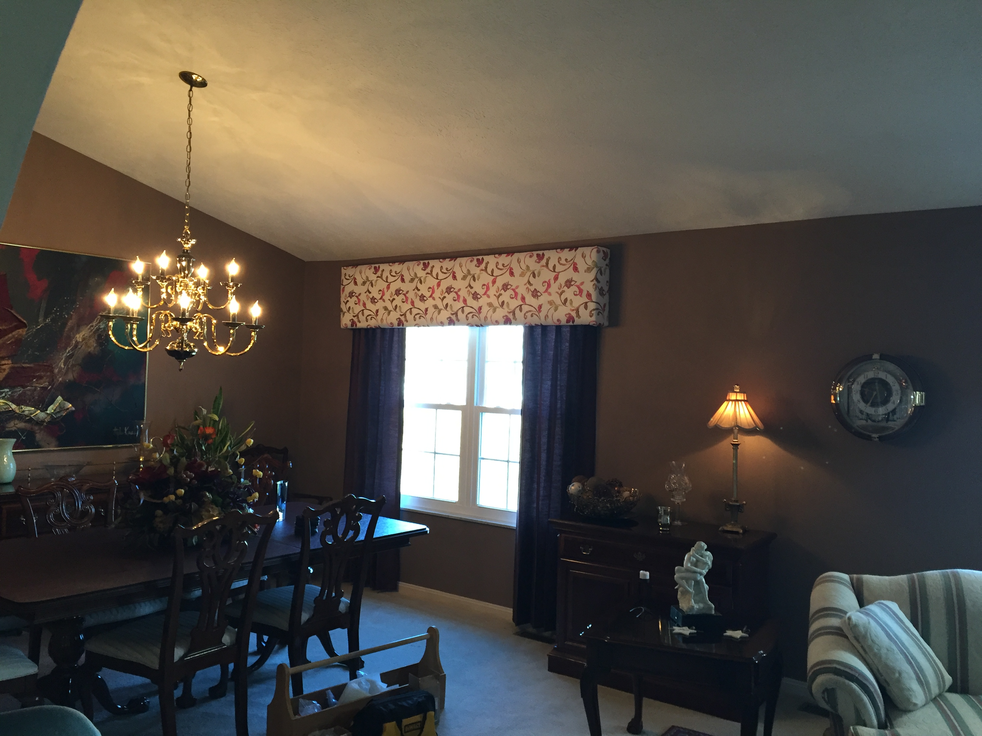 Valance and curtain installation