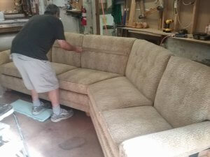 Quality inspection of a custom angled sofa