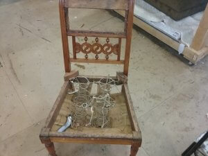 Straight back chair before reupholstery.