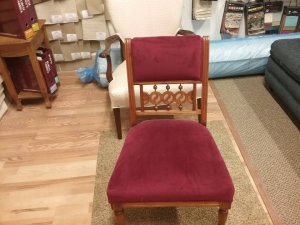 Reupholstery finished on a straight back chair.