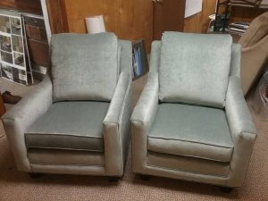Upholstered chairs in a silver grey fabric