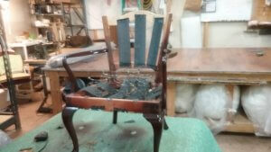 Wooden arm chair re-upholstery project