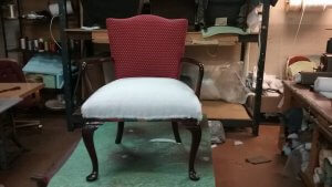Wooden arm chair re-upholstery new seat padding