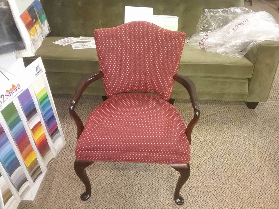 Re-upholstery of wooden arm chair