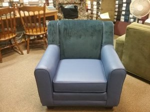blue leather chair with contrasting back